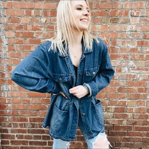J Jill denim oversized jean jacket light weight